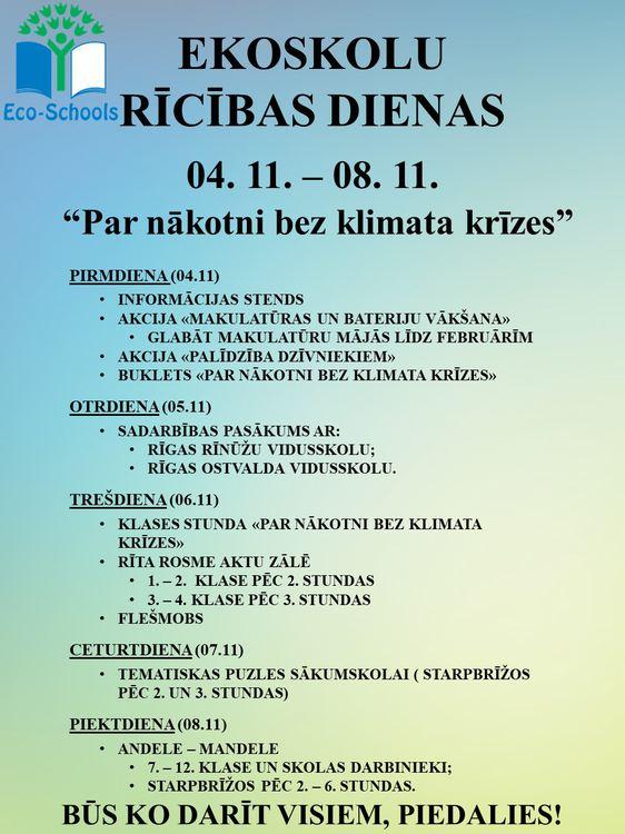 Ekoskolu rīcības dienas (04.11 - 08.11.2019)