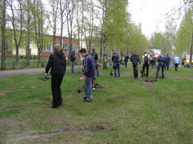 Foto: skolēni . Koku stādīšana